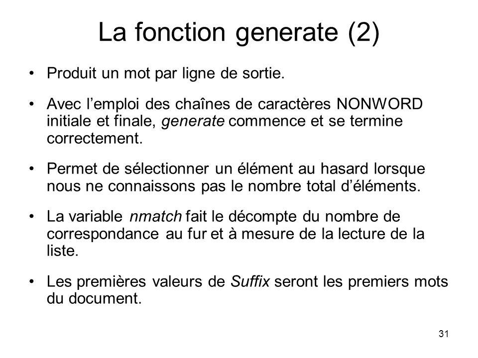 La fonction generate (2)