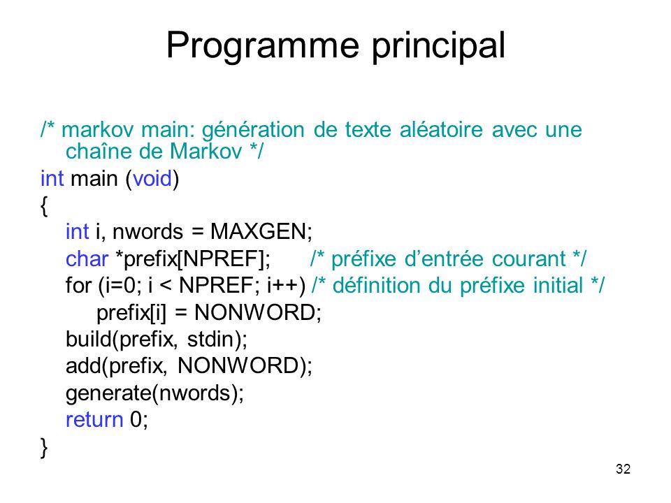 Programme principal /* markov main: génération de texte aléatoire avec une chaîne de Markov */ int main (void)