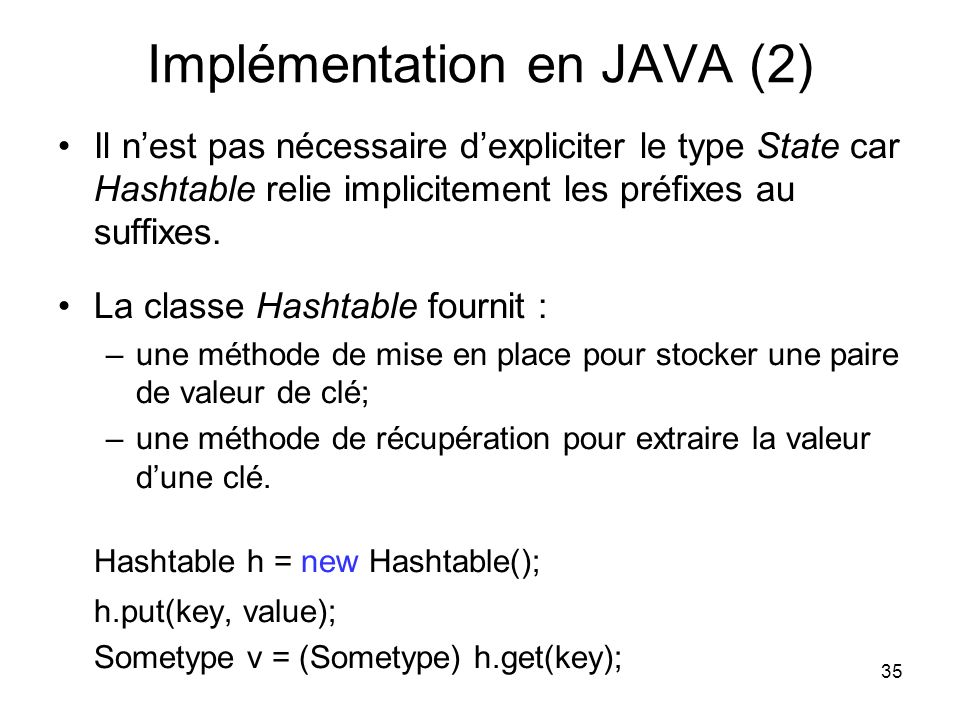 Implémentation en JAVA (2)