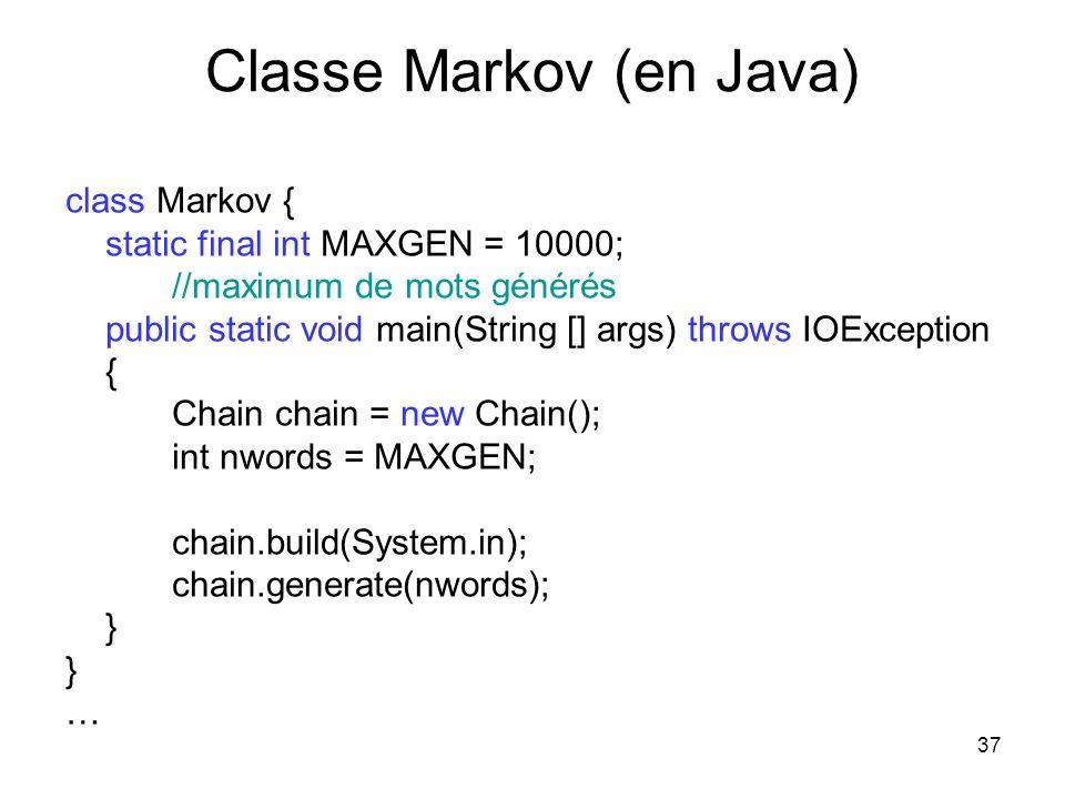 Classe Markov (en Java)