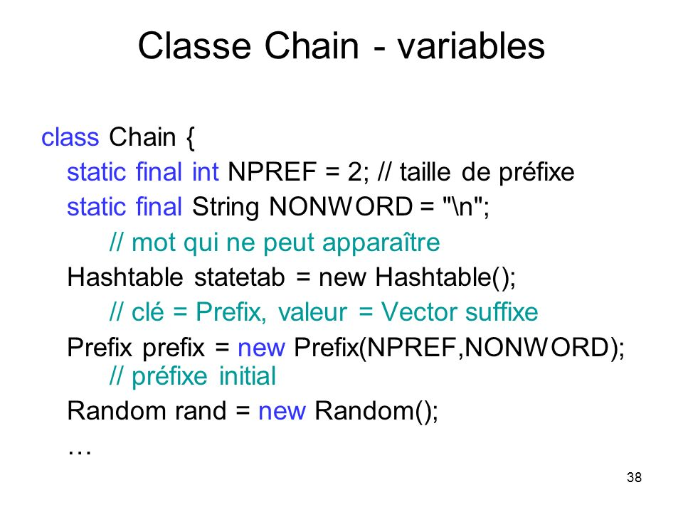Classe Chain - variables
