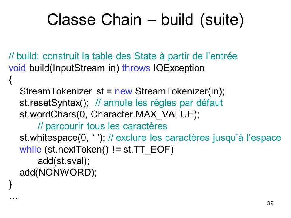 Classe Chain – build (suite)