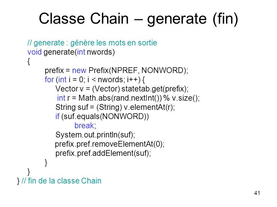 Classe Chain – generate (fin)