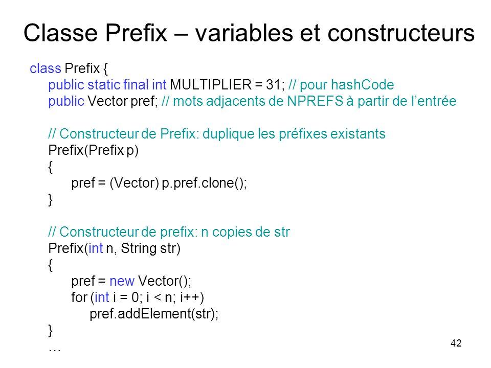 Classe Prefix – variables et constructeurs