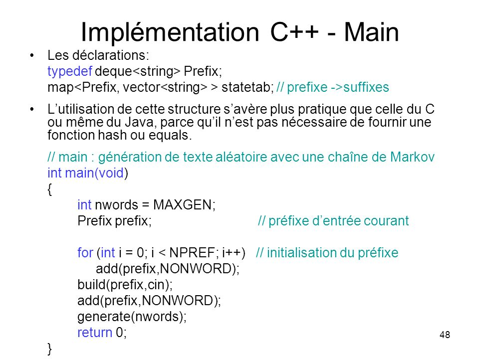 Implémentation C++ - Main