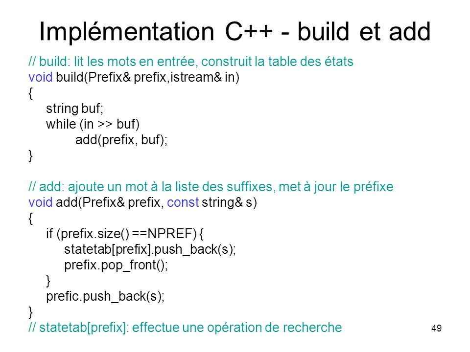 Implémentation C++ - build et add