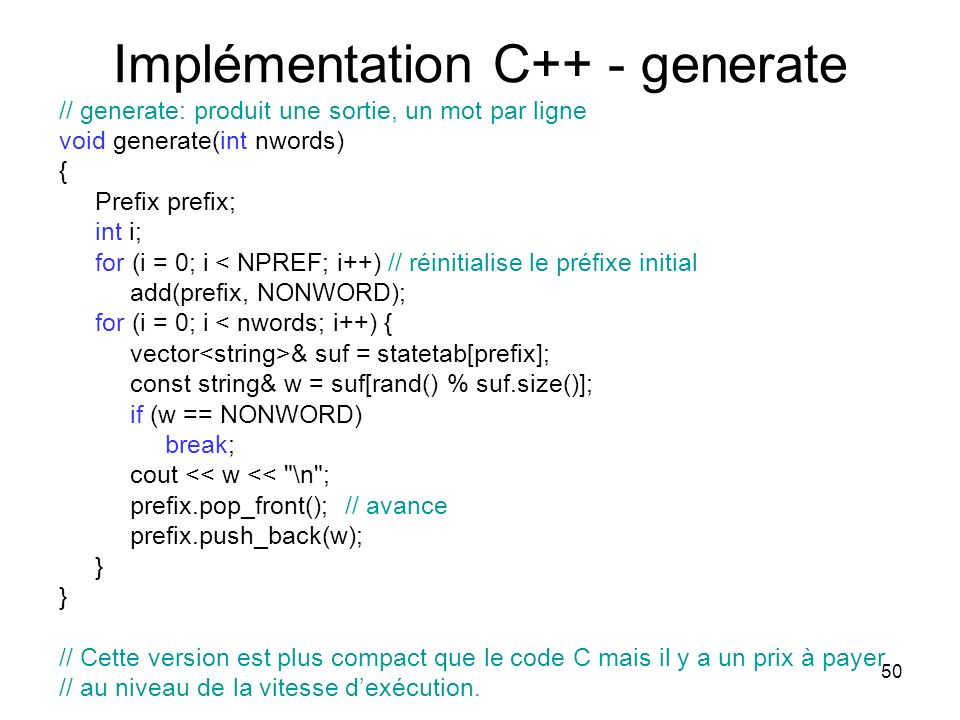 Implémentation C++ - generate