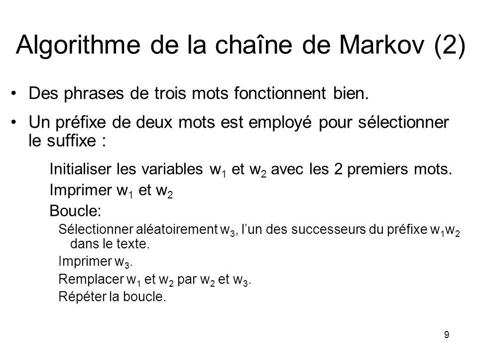 Algorithme de la chaîne de Markov (2)