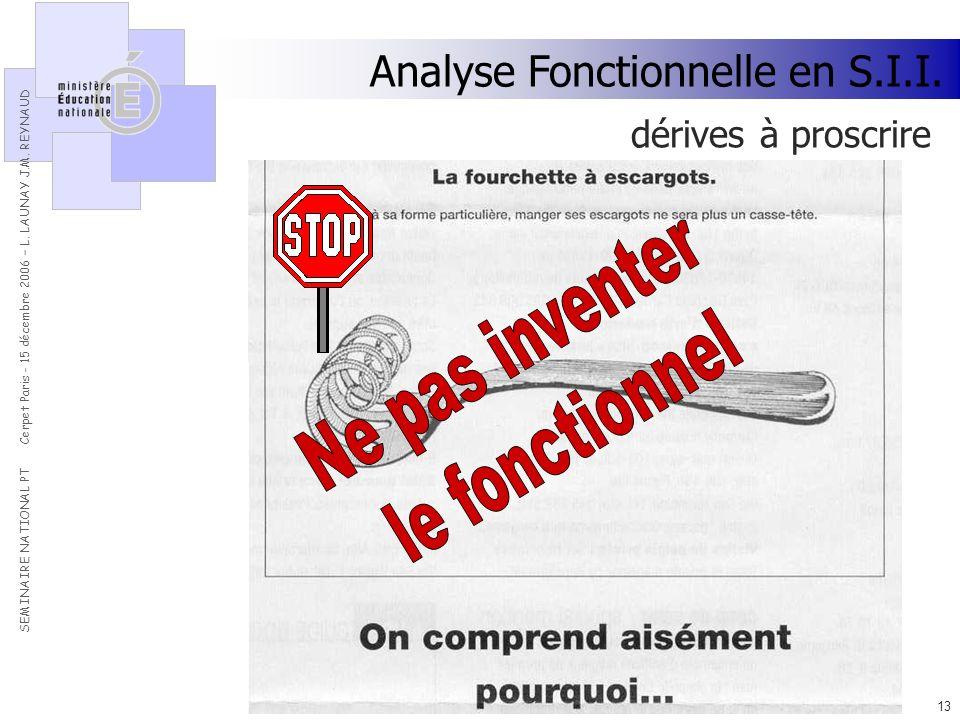 Ne pas inventer le fonctionnel Analyse Fonctionnelle en S.I.I.