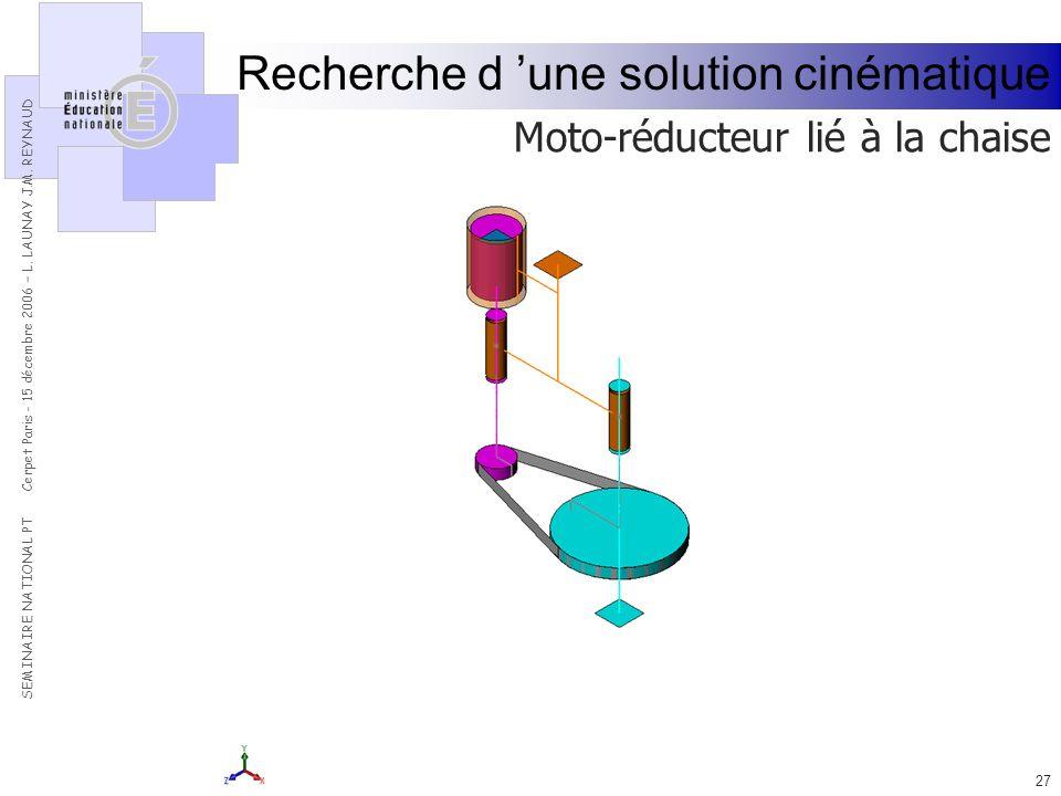 Recherche d 'une solution cinématique
