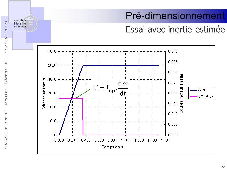 Pré-dimensionnement Essai avec inertie estimée