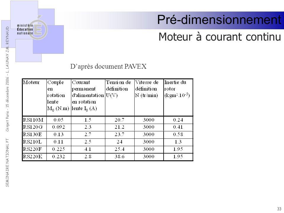 Pré-dimensionnement Moteur à courant continu D'après document PAVEX