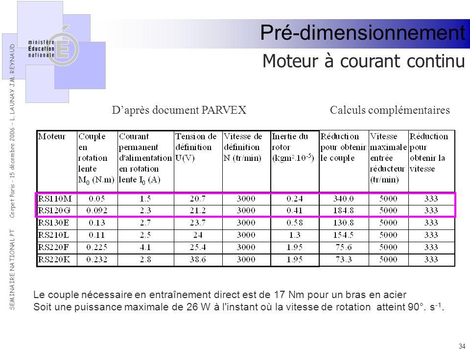 Pré-dimensionnement Moteur à courant continu D'après document PARVEX