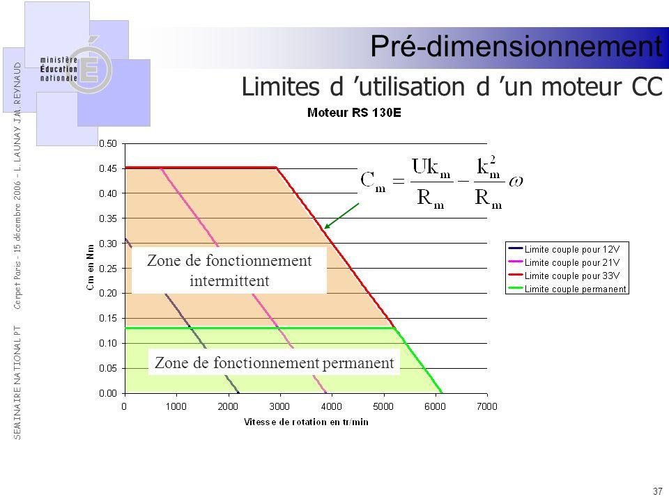 Pré-dimensionnement Limites d 'utilisation d 'un moteur CC