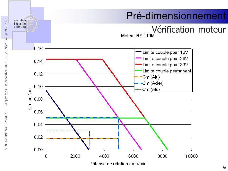 Pré-dimensionnement Vérification moteur