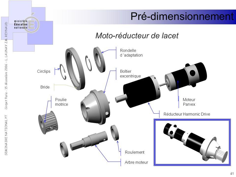Pré-dimensionnement Moto-réducteur de lacet Bride Boîtier excentrique