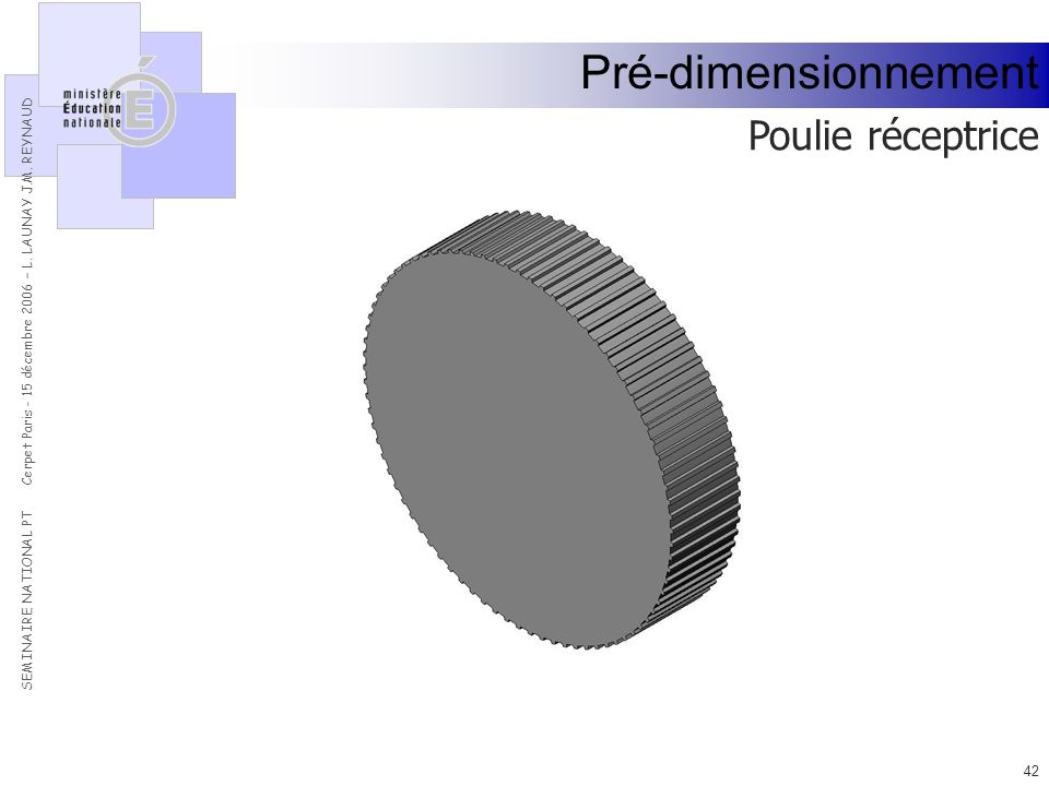 Pré-dimensionnement Poulie réceptrice