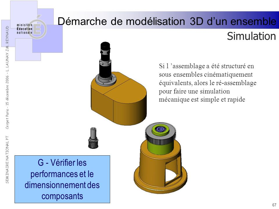 G - Vérifier les performances et le dimensionnement des composants