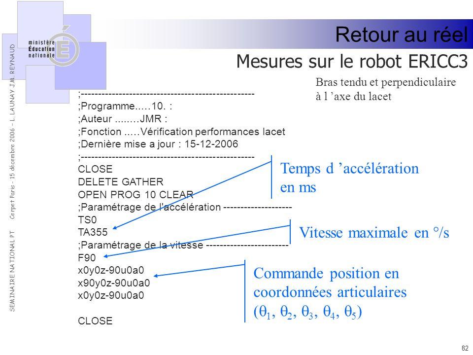 Retour au réel Mesures sur le robot ERICC3 Temps d 'accélération en ms