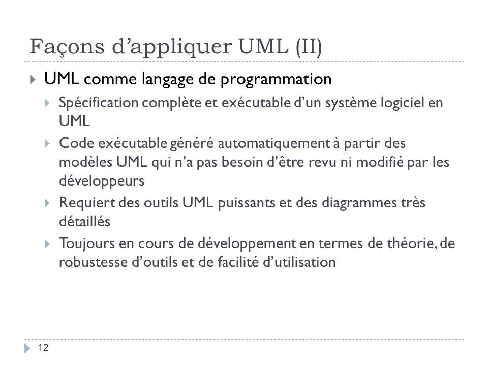 Façons d'appliquer UML (II)