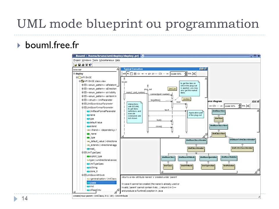 UML mode blueprint ou programmation