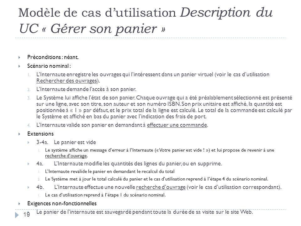Modèle de cas d'utilisation Description du UC « Gérer son panier »