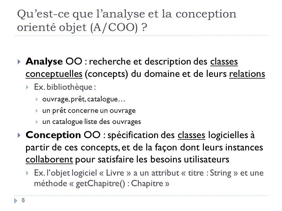 Qu'est-ce que l'analyse et la conception orienté objet (A/COO)