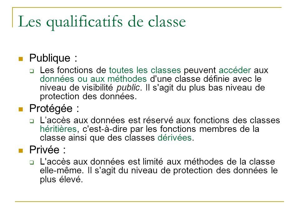 Les qualificatifs de classe