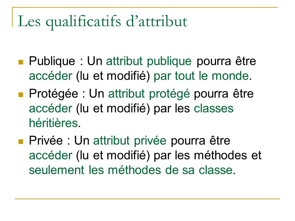 Les qualificatifs d'attribut