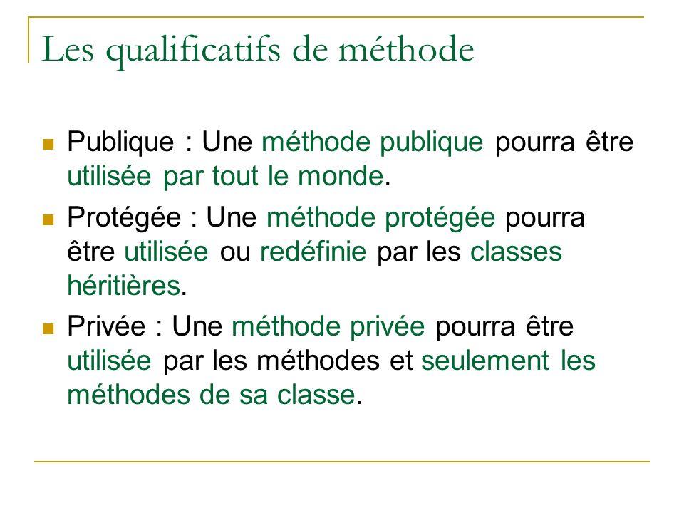 Les qualificatifs de méthode