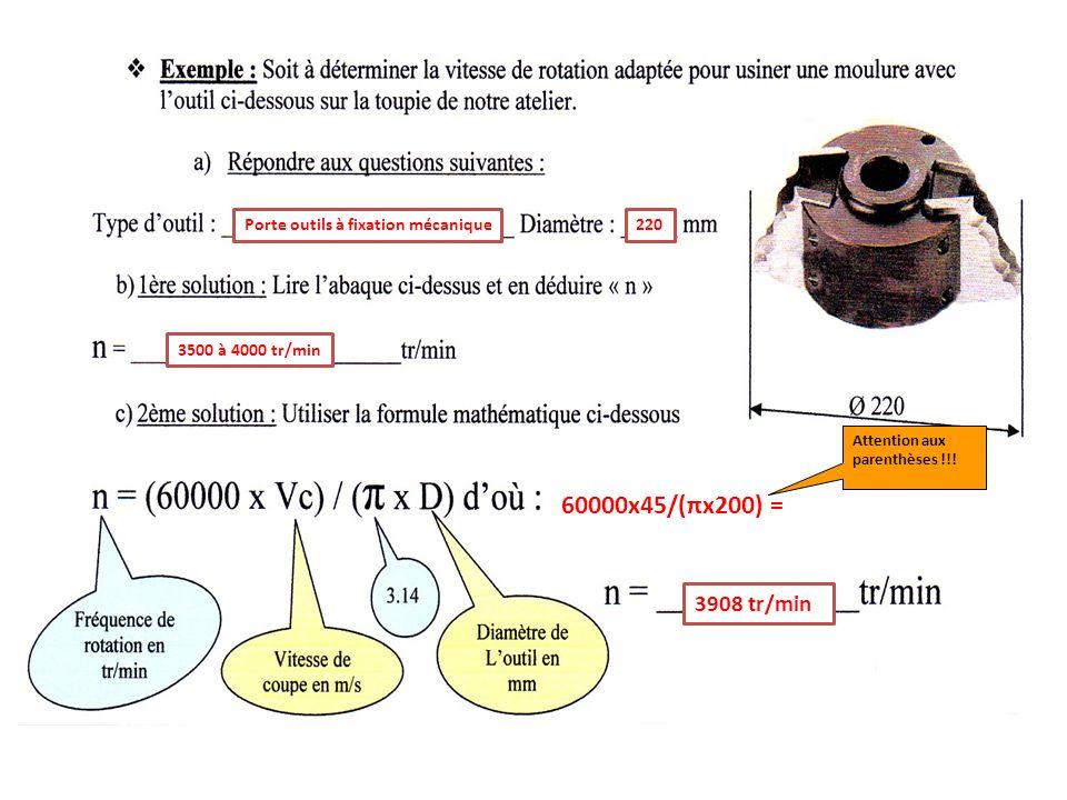 60000x45/(πx200) = 3908 tr/min Porte outils à fixation mécanique 220