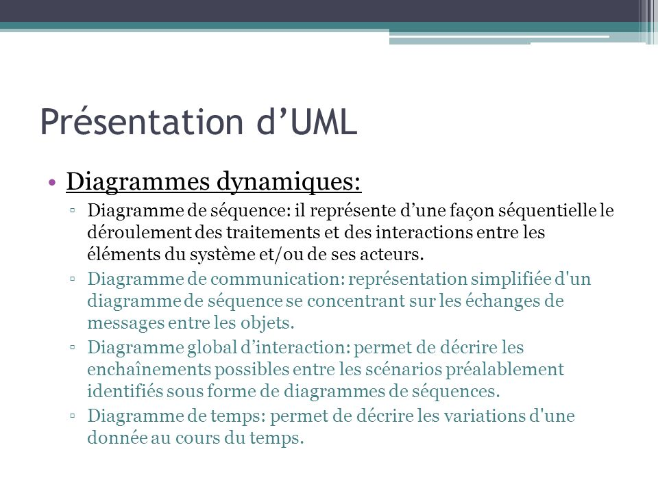 Présentation d'UML Diagrammes dynamiques: