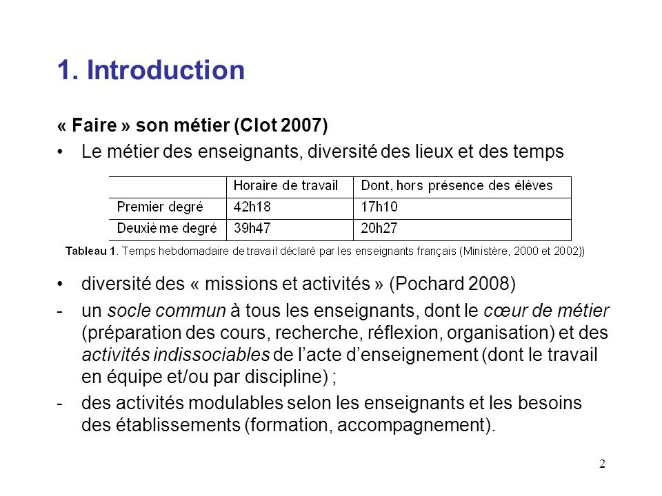 1. Introduction « Faire » son métier (Clot 2007)