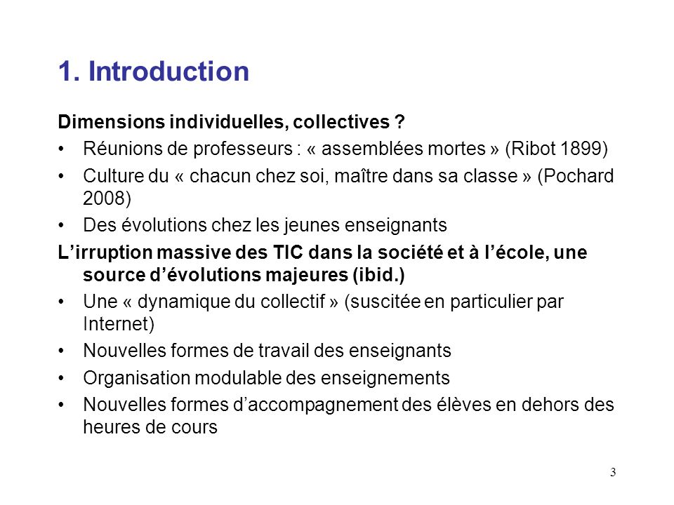 1. Introduction Dimensions individuelles, collectives