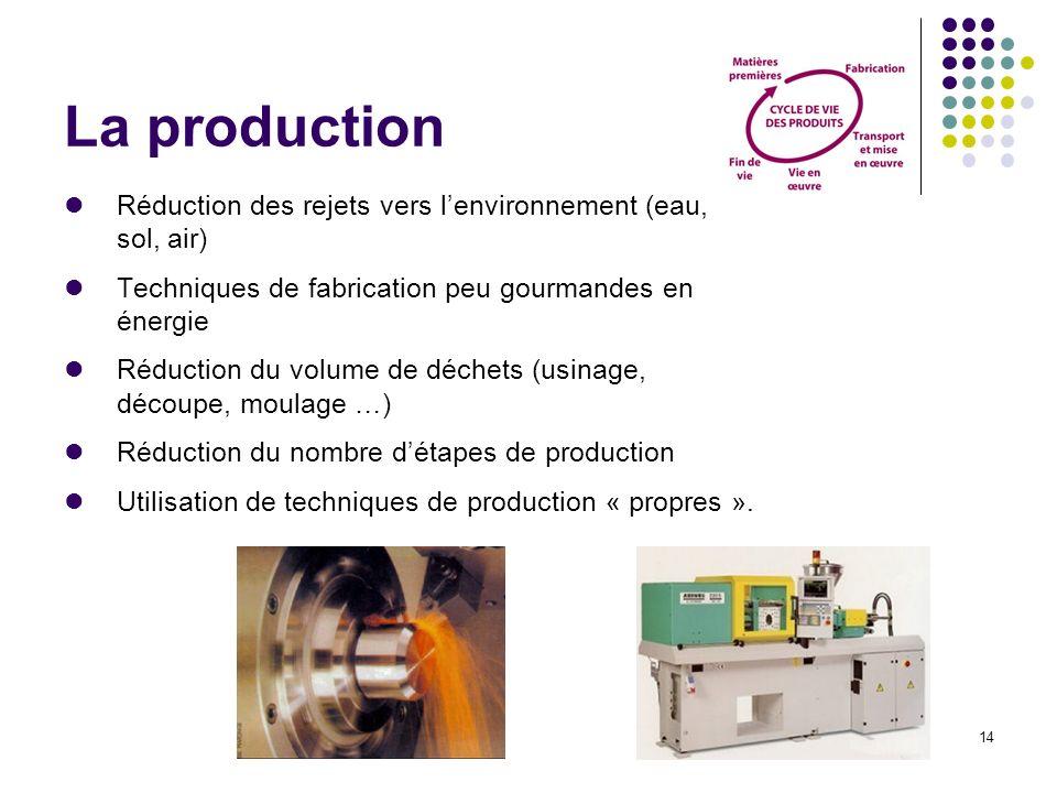 La production Réduction des rejets vers l'environnement (eau, sol, air) Techniques de fabrication peu gourmandes en énergie.