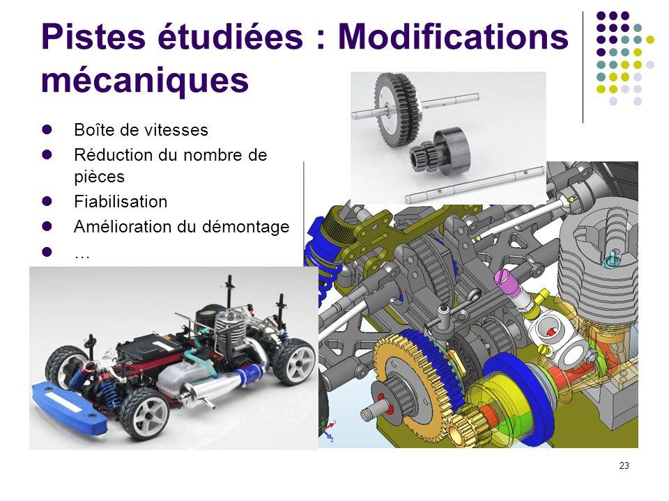 Pistes étudiées : Modifications mécaniques