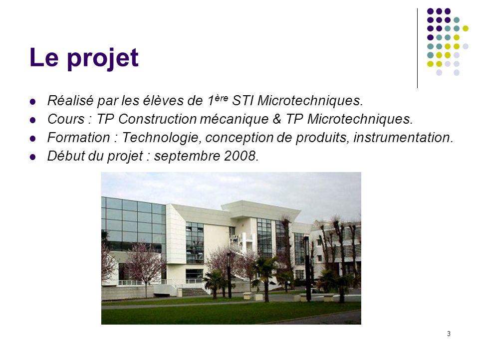 Le projet Réalisé par les élèves de 1ère STI Microtechniques.