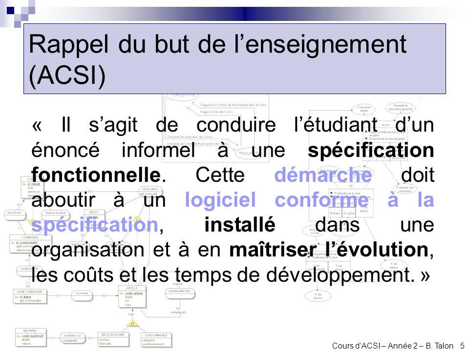 Rappel du but de l'enseignement (ACSI)
