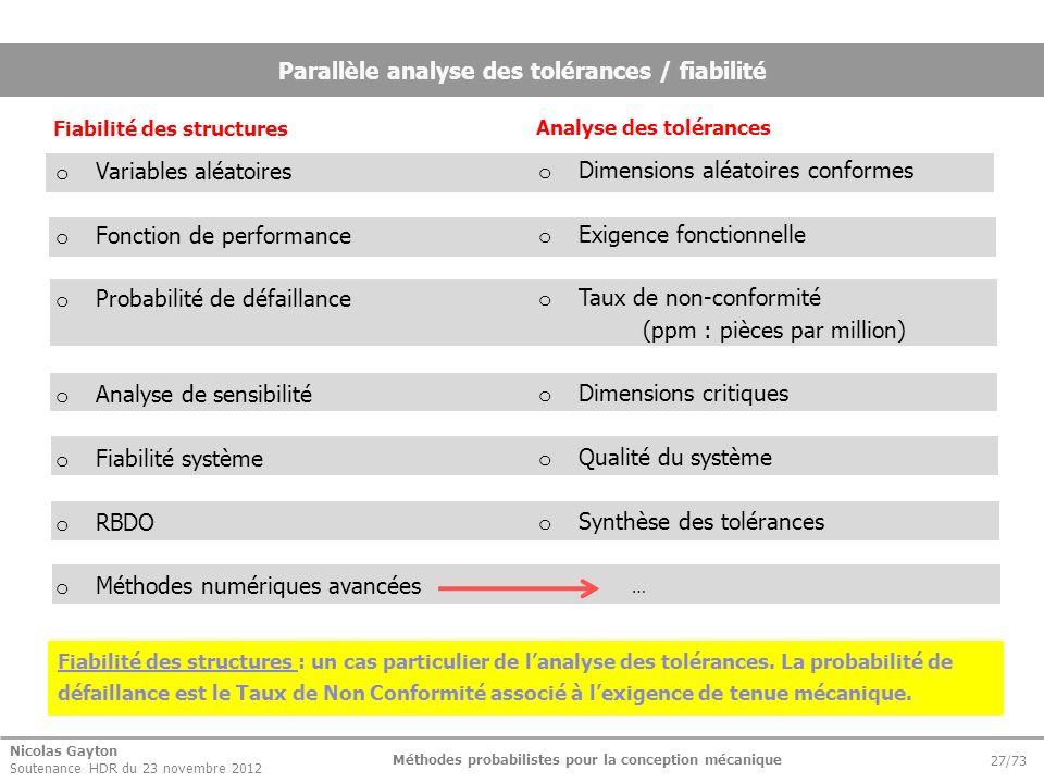 Parallèle analyse des tolérances / fiabilité