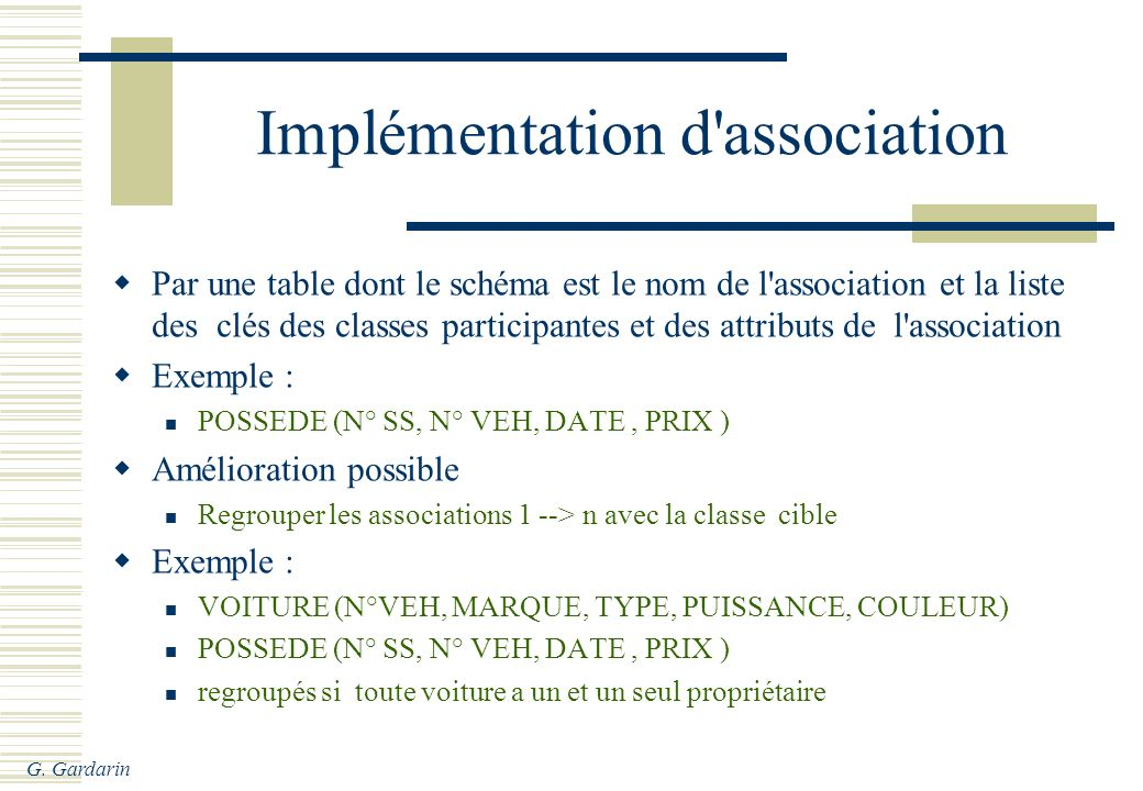 Implémentation d association