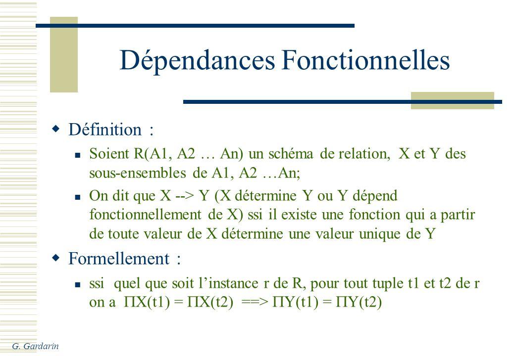 Dépendances Fonctionnelles