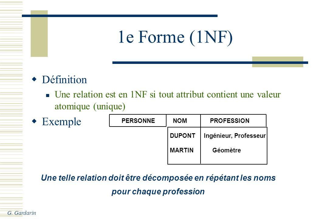 1e Forme (1NF) Définition Exemple