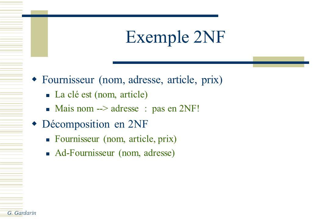 Exemple 2NF Fournisseur (nom, adresse, article, prix)