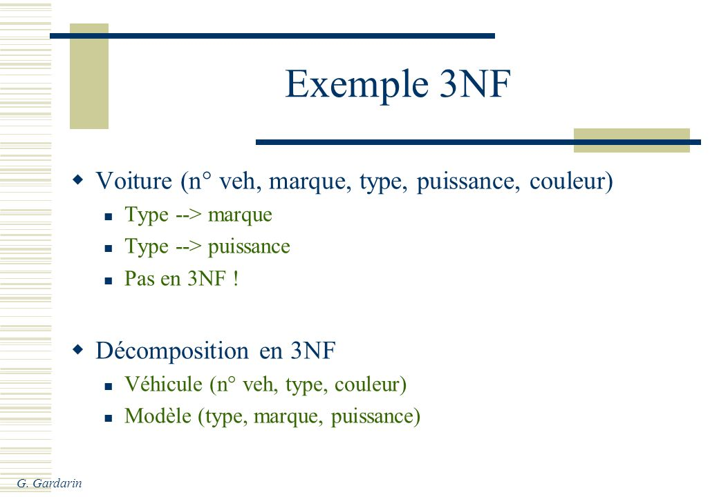 Exemple 3NF Voiture (n° veh, marque, type, puissance, couleur)
