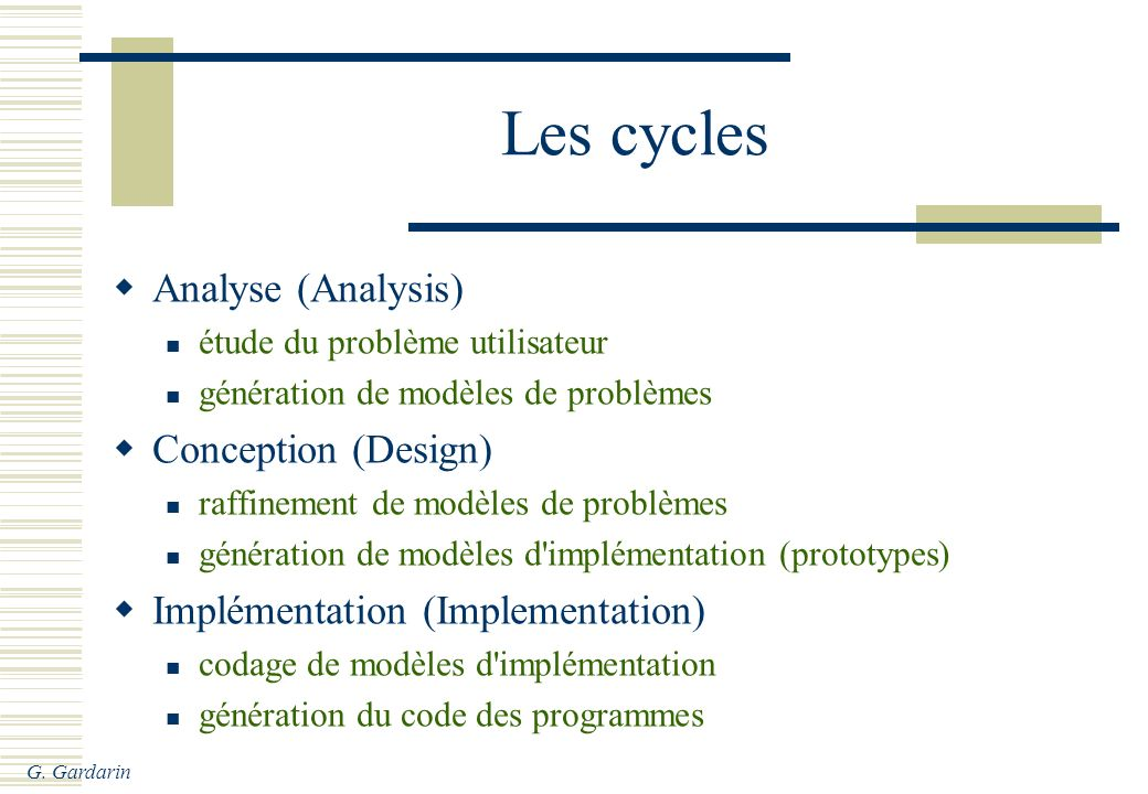 Les cycles Analyse (Analysis) Conception (Design)