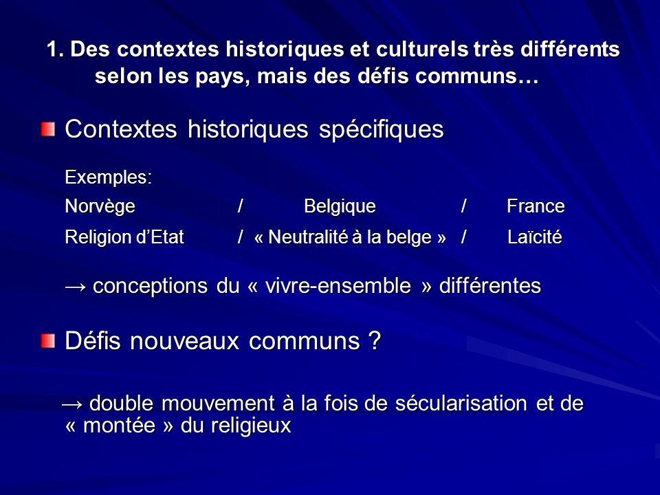 Contextes historiques spécifiques Norvège / Belgique / France