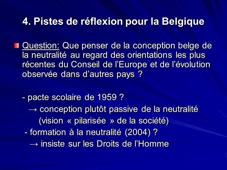 4. Pistes de réflexion pour la Belgique
