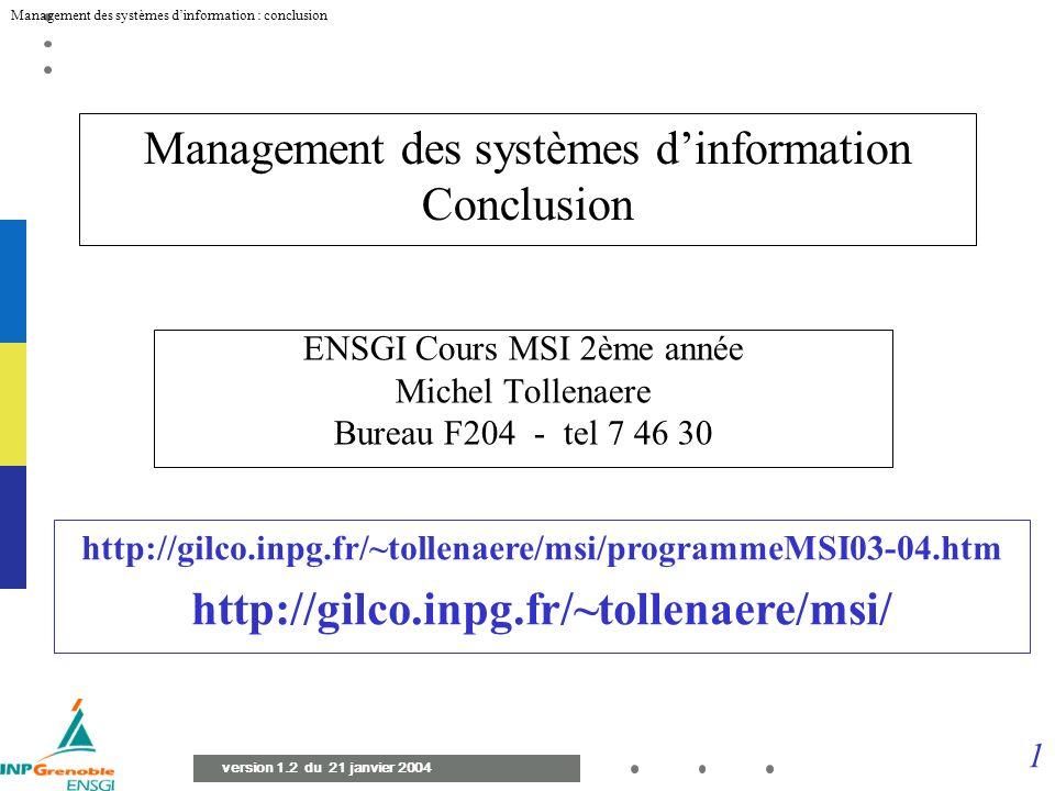 Management des systèmes d'information Conclusion