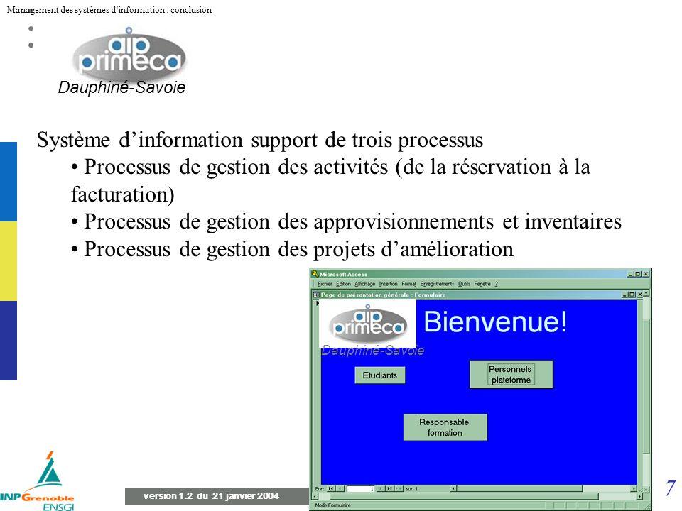 Système d'information support de trois processus