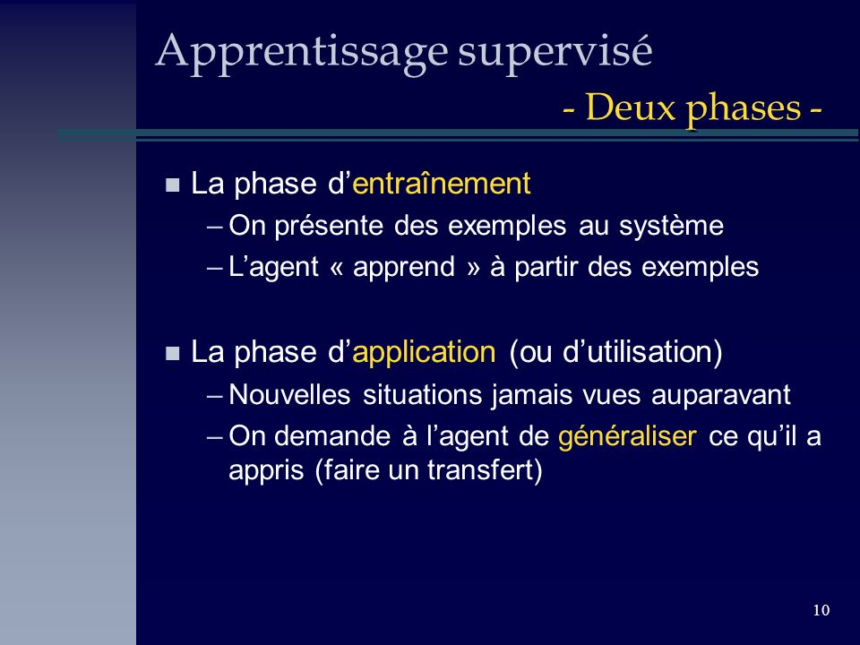 Apprentissage supervisé - Deux phases -